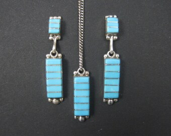 Vintage Southwestern Sterling Zuni Turquoise Earrings Necklace Jewelry Set
