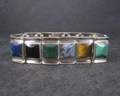 Heavy Vintage Mexican Sterling Gemstone Bracelet Alicia de la Paz