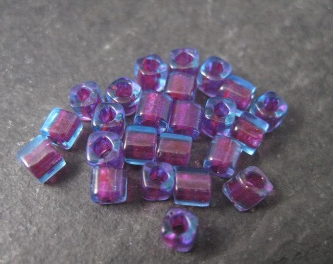 Destash Lot of 150 4x4mm Purple Blue Glass Cube Beads