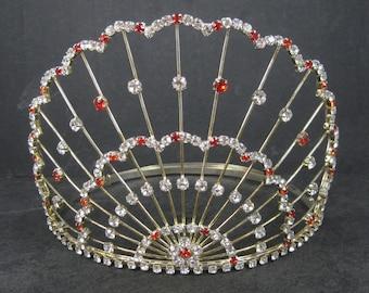 Large 5 Inch Vintage Red and White Rhinestone Crown Tiara