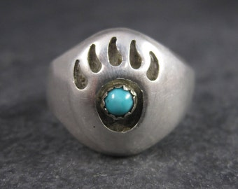 Vintage Navajo Shadowbox Bear Paw Ring Size 11