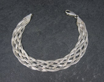 Vintage Italian Sterling Braided Herringbone Bracelet 7 Inches
