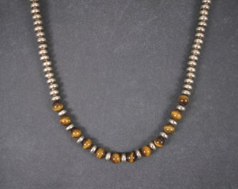 Vintage Navajo Tigers Eye Necklace Sterling Silver 18 Inches