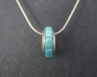 Vintage Sterling Turquoise Inlay Bead Slider Pendant Necklace