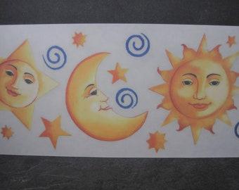 Large Celestial Sun Moon Stars Rub Ons 5.5X12 Inch Sheet