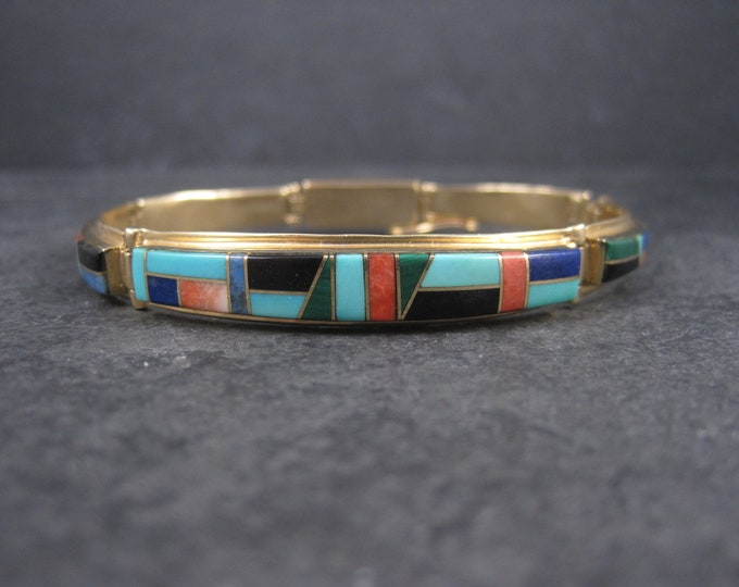 Vintage 14K Native American Inlay Bracelet 8 Inches