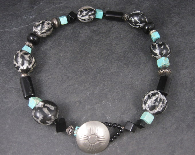 Vintage Southwestern Sterling Turquoise Kukui Nut Necklace 20 Inches