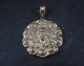 Large Vintage Gold Plated Jesus Mary Medallion Pendant