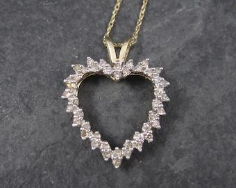 Vintage 10K Yellow Gold .30 Carat Diamond Heart Pendant