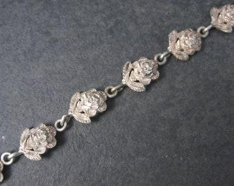 Vintage Sterling Diamond Cut Rose Bracelet 7.5 Inches