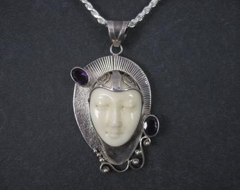 Vintage Sterling Amethyst Bone Face Pendant Necklace