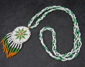 Vintage Sioux Orange Green White Beaded Necklace 26 Inches