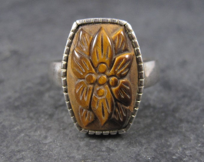 Vintage Carved Tiger Eye Floral Ring Sterling Size 11