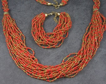 Vintage Red and Gold Seed Bead Necklace Bracelet Jewelry Set