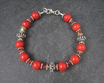 Red Glass Swarovski Crystal Bead Bracelet 7.5 Inches