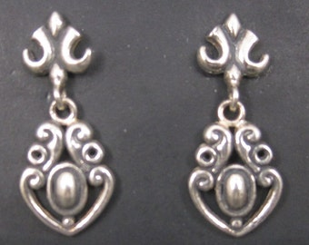 Vintage Sterling Victorian Style Earrings