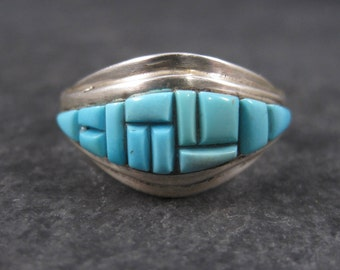 Vintage Sterling Turquoise Inlay Ring Size 9.5 Signed Native American Cobblestone