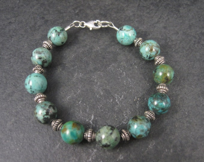 Vintage Sterling Chrysocolla Bead Bracelet 7.5 Inches