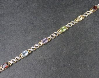 Vermeil Sterling Multi Stone Bracelet 7.5 inches Peridot Garnet Amethyst Citrine