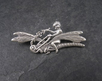 Vintage Sterling Fairy Dragonfly Brooch Pin