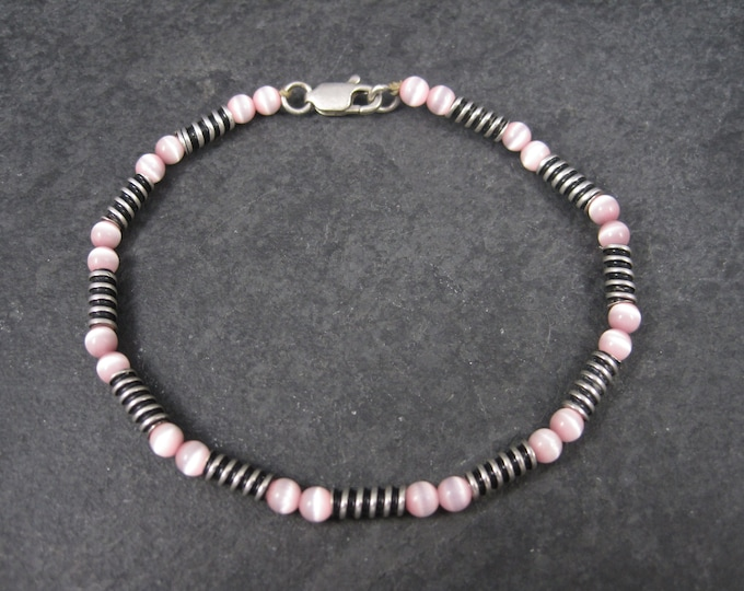 Vintage Handmade Sterling Pink Cats Eye Bracelet 8 Inches