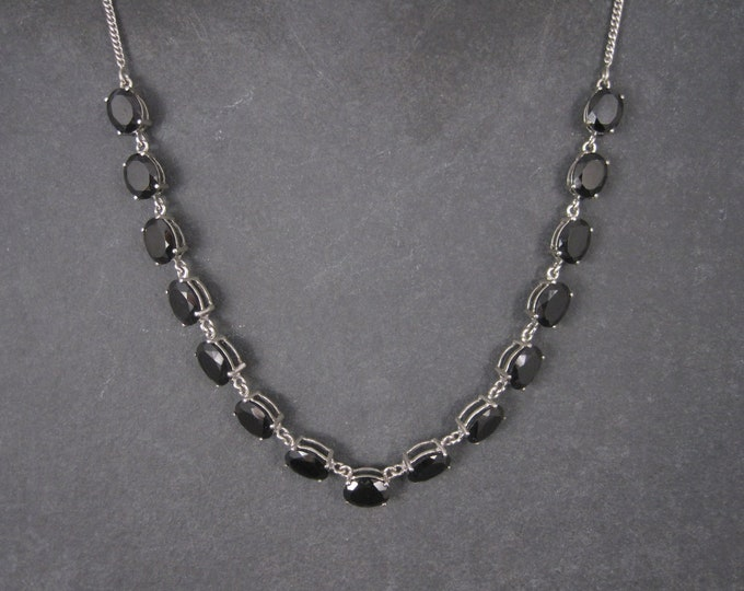 Vintage Sterling Black Onyx Necklace 18 Inches