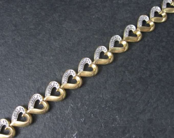 Vintage Vermeil Sterling Illusion Heart Bracelet 7 Inches