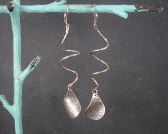 Long Sterling Floral Swirl Leverback Earrings