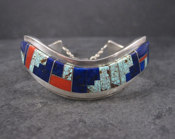 Featured listing image: Vintage Navajo Lapis Coral Turquoise Inlay Cuff Bracelet 6 Inches Muskett