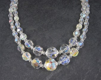 Vintage Aurora Borealis Crystal Necklace 2 Strand 18 Inches