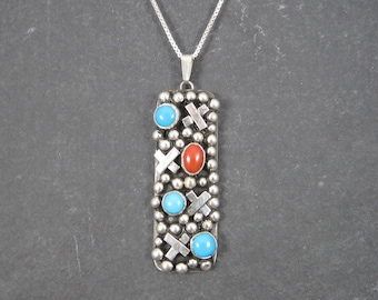 Vintage Sterling Navajo Turquoise and Coral X Pendant