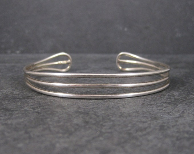 Vintage 90s Sterling 3 Row Cuff Bracelet 7 Inches