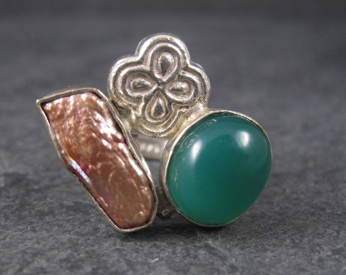 Vintage Green Onyx Baroque Pearl Ring Sterling Size 7