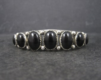 Vintage Navajo Sterling Onyx Cuff Bracelet 6.75 Inches