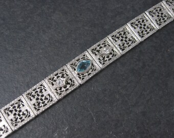 Art Deco Filigree Blue White Paste Stone Bracelet E.I. Franklin & Co