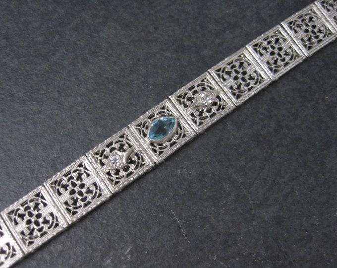 Art Deco Filigree Blue White Paste Stone Bracelet E.I. Franklin & Co