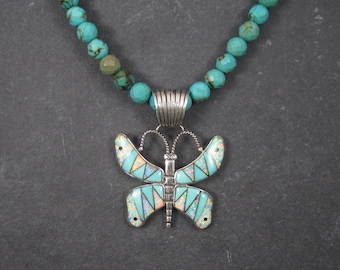 Southwestern Faceted Inlaid Turquoise Butterfly Pendant Necklace
