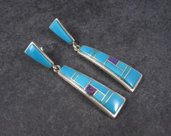 Long Vintage Navajo Turquoise Sugilite Earrings Betty Thomas Sanel