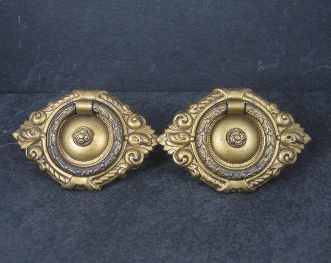 Vintage Ornate Drop Ring Brass Metal Drawer Pulls