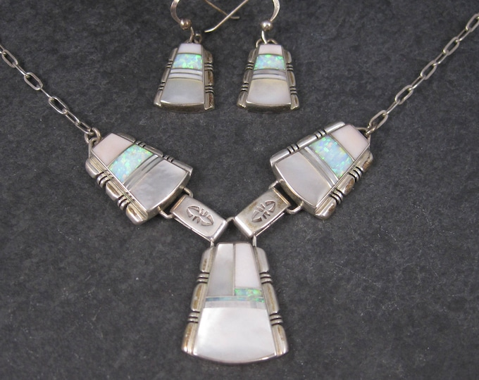 Vintage Navajo Mother of Pearl Opal Inlay Jewelry Set Earrings and Necklace John Charley