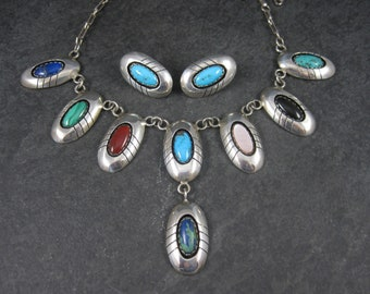 Vintage Navajo Multi Stone Necklace and Earrings Jewelry Set