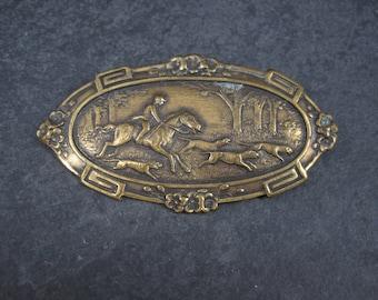 Large Vintage Brass Fox Hunt Brooch