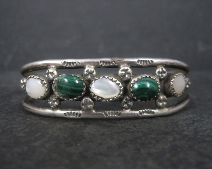 Vintage Southwestern Sterling Malachite Mother of Pearl Cuff Bracelet 6 Inches