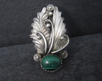 Vintage Southwestern Sterling Malachite Feather Ring Size 6
