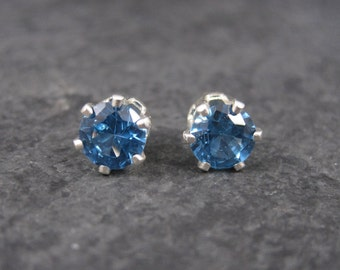 December Birthstone Blue Zircon Stud Earrings 6mm