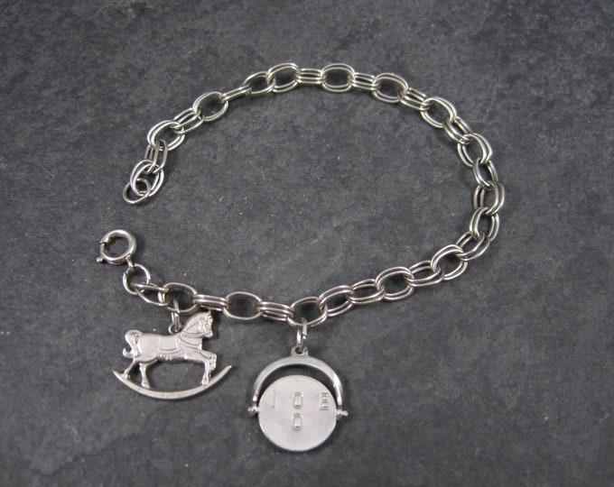 Vintage Sterling I Love You Rocking Horse Charm Bracelet