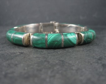 Heavy Vintage Mexican Sterling Malachite Inlay Bracelet 6.75 Inches