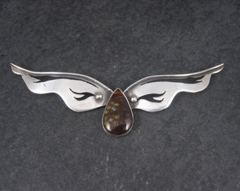 Large Vintage Sterling Mexican Fire Agate Pendant
