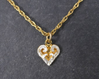 Tiny Vintage Black Hills Gold Silver Heart Pendant Necklace Old New Stock