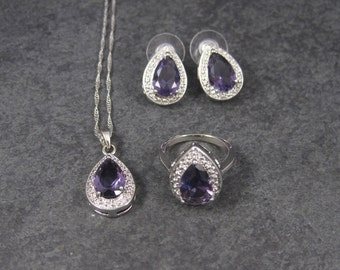 Vintage 80s Fashion Amethyst Necklace Ring Earrings Jewelry Set